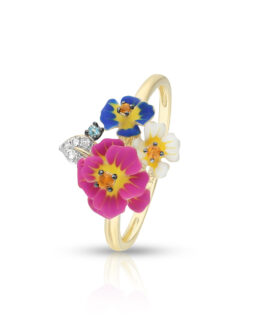 W.KRUK pierścionek Kwiaty Nocy, złoto, cytryny, topazy cena 1490 zł.